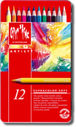 Caran D'Ache Supracolor Soft Aquarelle Watercolour Pencils Tin of 12