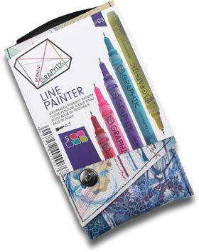 Derwent Graphik Line Painter Pens Pack of 5 Palette 3