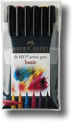 Faber Castell Pitt Artist Brush Pen - Set of 6 Basic Colours