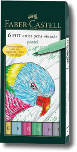 Faber Castell Pitt Artist Brush Pen - Set of 6 Pastel Colours