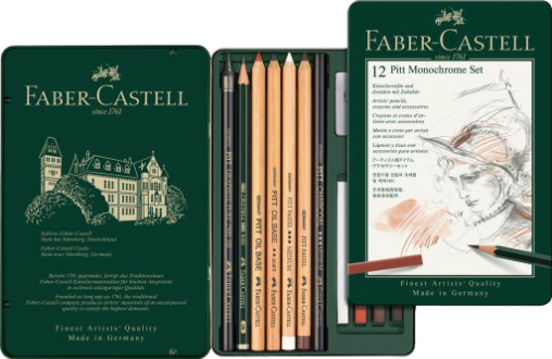 Faber Castell Pitt Monochrome Pencils Set (tin 12)