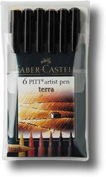 Faber Castell Pitt Artist Brush Pen - Set of 6 Terra Colours