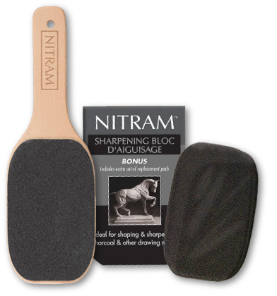 Nitram Charcoal Sharpening Block with 2 spare pads