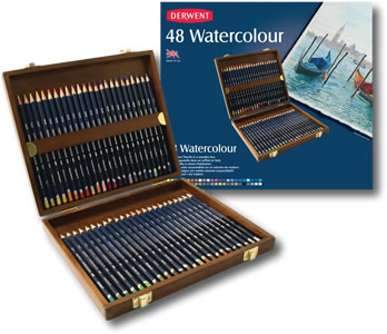 Derwent Watercolour Pencils Wooden Presentation Box 48