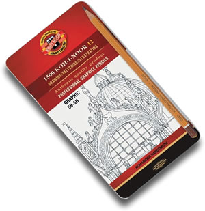 Koh I Noor 1500 Graphite Range - Tin 12 Medium