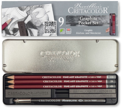 Cretacolor Fine Art Graphite Tin of 9