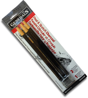 General's Peel & Sketch Charcoal Pencils Blister Pack